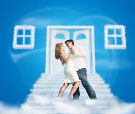 unclosed: dancing pair on dream cloud door way and windows collage on blue Stock Photo