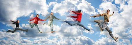 rollerblade: flying people on sky cloud panorama collage Stock Photo