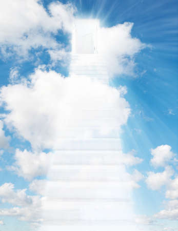 white ladder stair and door to sky collage photo