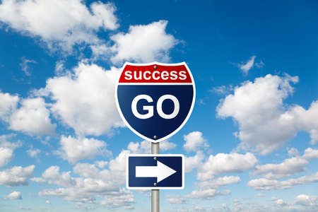 GO to SUCCESS sign on White, fluffy clouds in blue sky collage photo