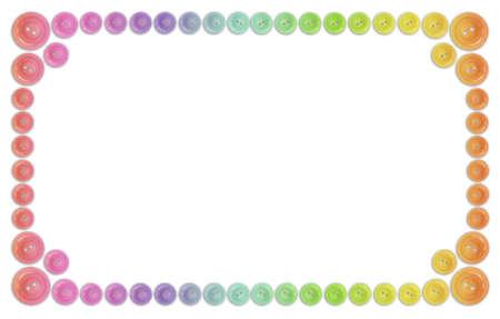 Кнопки: многие кнопки радуги кадр, изолированных на белом коллаж Фото со стока