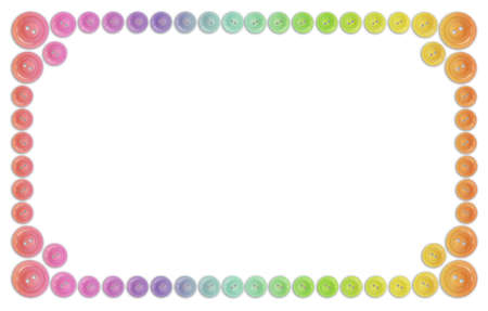 many rainbow buttons frame isolated on white collage photo