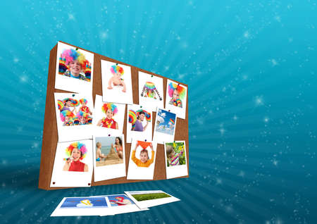 wood wall with funny family photos collage Stock Photo - 17758154