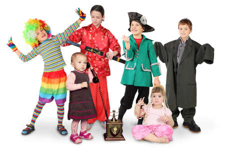many children in costumes, clown, businessman, pirate, fighter, with phone, bellydance on white collage photo