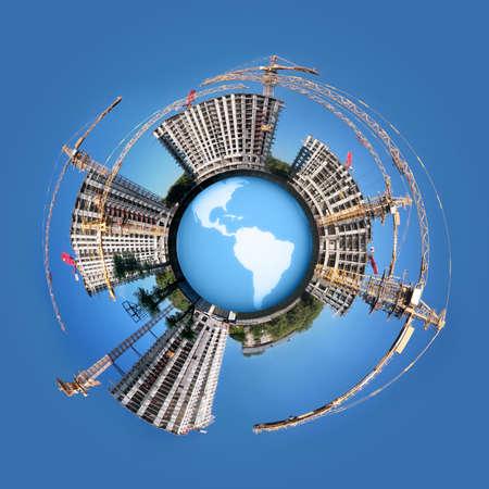 円の世界地球コラージュ上の住宅不動産の建物のパノラマ 写真素材