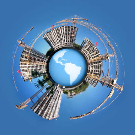 circle Panorama of building of an housing estate on globe Earth collage