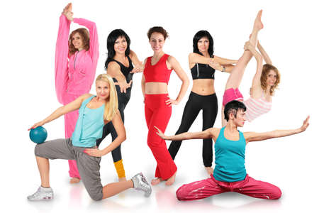 pliable: Smiling seven girls group in sportswear does gymnastic exercise collage