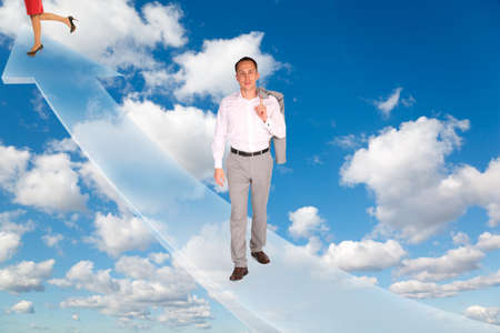 man and woman on arrow on White, fluffy clouds in blue sky collage photo