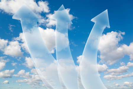 three transparent arrows on White, fluffy clouds in blue sky collage photo