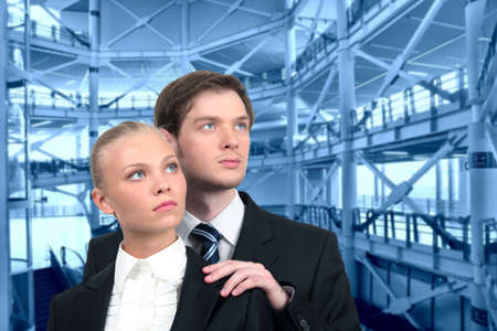young business couple on industrial interior collage Stock Photo - 17758148