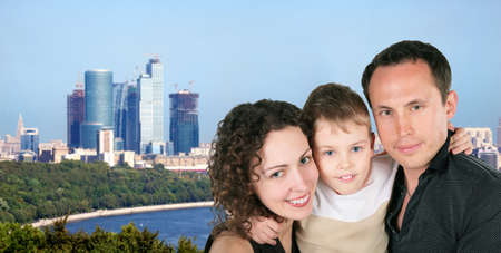 family with son portrait on Moscow city sunny day collage photo