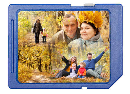 family in autumn wood on blue SD memory card frame collage isolated on white background photo