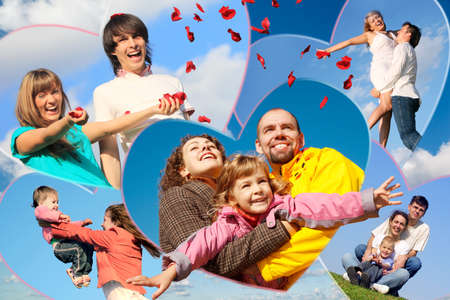families with children and young pair scatters petals of roses against sky collage in heart shapes