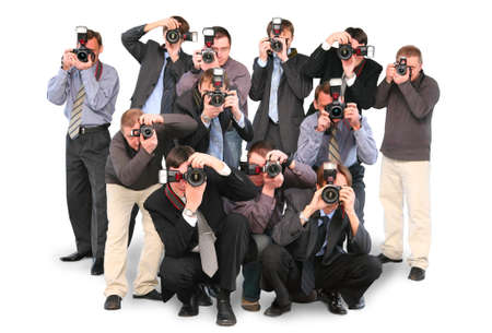press conference: many photographers paparazzi double twelve group with cameras isolated on white collage