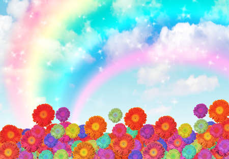 flowers on rainbow cloud sky collage photo