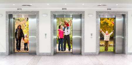 people in elevator: summer autumn  family in Three elevator doors in corridor of office building collage
