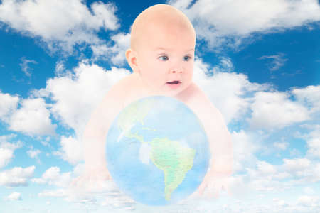 baby with glass globe on White, fluffy clouds in blue sky collage photo