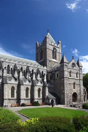 St. Patricks Cathedral and green grass in Dublin, Ireland, vertical photo
