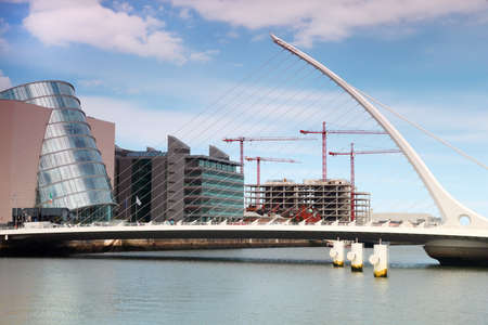 Samuel Beckett Bridge over River Liffey at day in Dublin, Ireland