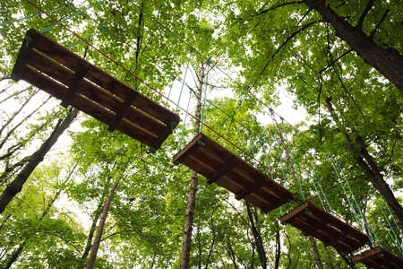 ropeway: Dangerous ropeway with tether in rope park, trees with green leaves and sky Stock Photo