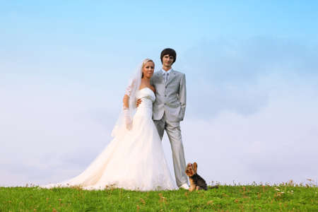Beautiful young groom and bride wearing white dress standing on green grass and embrace; small dog sitting near them photo