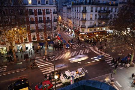 brisk: PARIS - DECEMBER 31: Brisk crossroads near subway station Chateau dEau (Paris Metro) on December 31, 2009, Paris, France. Shteau dEau station opened on 21 April 1908 as part of the initial stretch of Line 4 from Porte de Clignancourt in the north to Chc