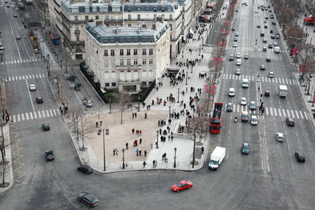 panoramic roof: beautiful panorama from Arc de Triomphe, Champs-Elysees at winter in Paris, France