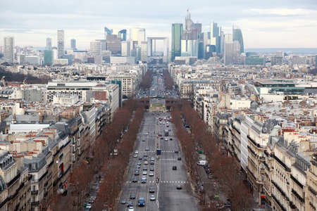 street lamp: view of La Defense business quarter, Grand Armagh avenue at winter in Paris, France