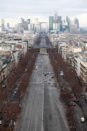 la defense: vertical view of La Defense business quarter, Grand Armagh avenue in Paris, France