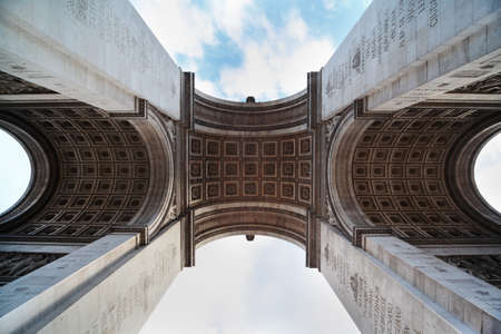 triumphal: view of the Triumphal Arch from below in Paris, France, stucco