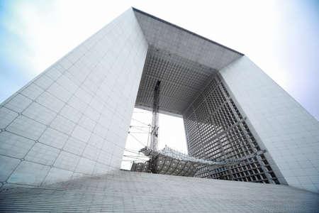 la defense: Arch in La Defense business district in Paris, France, gray and white