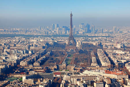 panorama of Paris with eiffel tower, la Defence at winter, France, horizontal Stock Photo - 17673837
