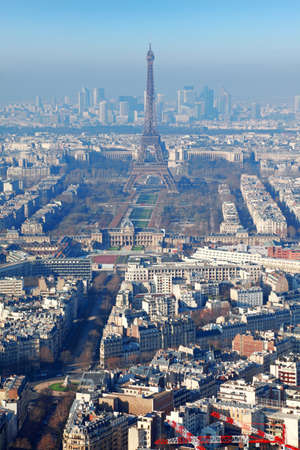 panorama of Paris with eiffel tower, la Defence at winter, France, vertical Stock Photo - 17674190