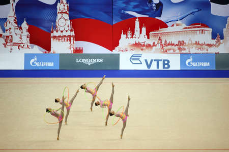 rhythmic gymnastic: MOSCOW - SEPTEMBER 25: Show of artistic gymnastics hoop from Venezuela at 30-th rhythmic gymnastics world championships was held in Moscow in sports complex Olympiysky on September 25, 2010 in Moscow, Russia.