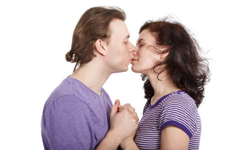 kissing lips: Closeup kissing young couple. Stock Photo