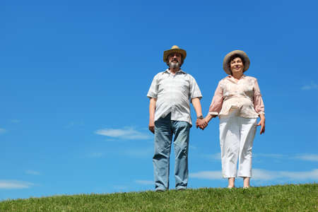 old man and woman in straw hats standing on hill and holding for hands, blue sky and green lawn Stock Photo - 17724682