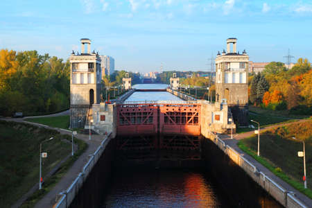 sluice: Average gate of sluice number 8 Moscow Canal in Moscow, Russia.