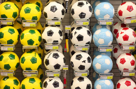 shoppings: MOSCOW - SEPTEMBER 26: Soccer balls in store, on September 26, 2010 in Moscow, Russia. Moscow authorities plan to spend on development of physical culture and sports more than $10 billion over five years.