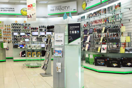 MOSCOW - SEPTEMBER 26: In electronics shop, on September 26, 2010 in Moscow, Russia. Biggest Russian retailers Eldorado and M. Video can come together, Czech company, PPF, which owns Eldorado, says. Publikacyjne