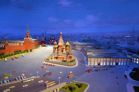 spassky: cardboard model of Red Square in Moscow - Kremlin, St. Basils Cathedral, Mausoleum