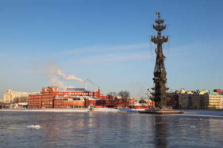 peter the great: Monument to Peter Great on Moskva river and factory, height of monument is 98 meters