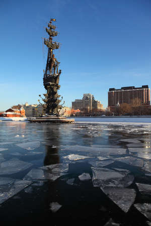 peter the great: Monument to Peter Great on Moskva river and houses, height of monument is 98 meters