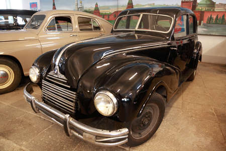 MOSCOW - JANUARY 19: Antique black car in museum of Mosfilm on January 19, 2010 in Moscow, Russia. In museum of Mosfilm Cinema Concern collected property from movies