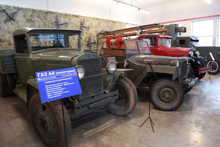 MOSCOW - JANUARY 19: Old trucks, military vehicle in museum of Mosfilm on January 19, 2010 in Moscow, Russia. In museum of Mosfilm Cinema Concern collected property from movies