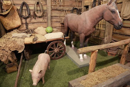 horse and cart: exposition at the exhibition, horse, pig, cart, yoke, nursery