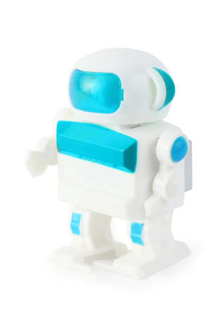 anthropomorphic: funny toy clockwork wihite-blue anthropomorphic robot on white background