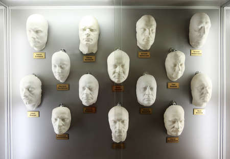 MOSCOW - JANUARY 19: White plaster casts of faces popular Russian actors in museum of Mosfilm on January 19, 2010 in Moscow, Russia. In museum of Mosfilm Cinema Concern collected property from movies Stock Photo - 17678832