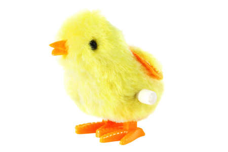 windup: bright toy clockwork fluffy yellow chick with orange feet isolated on white background