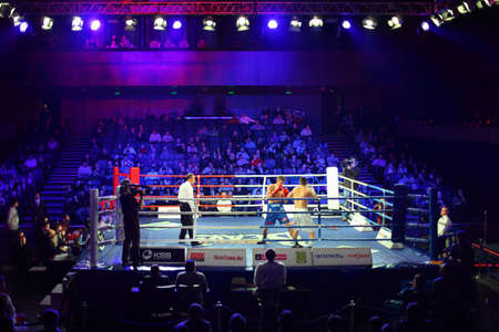 ref: MOSCOW - JANUARY 08: Match of &quot,Kremlin bears(Russia) David Arustamyan (R) vs. Aleksis  Vastin (L) PARIS UNITED (France)  in concerto hall  BARVIKHA LUXURY VILLAGE, January 08, 2011 in Moscow , Russia. WSB cultivates competition, sporting values in bo