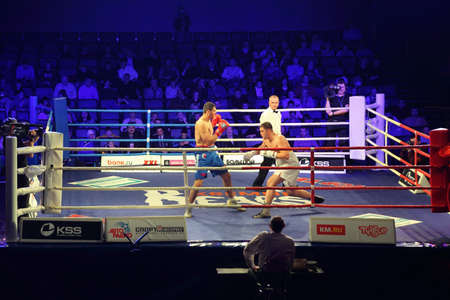 ref: MOSCOW - JANUARY 08: Heavyweight (91 kg): Islam Ismailov (R) Kremlin bears (Russia) vs. Filip Khrgovich (L) &laquo,PARIS UNITED&raquo, (France)  in concerto hall  BARVIKHA LUXURY VILLAGE, January 08, 2011 in Moscow , Russia. WSB presents  first in world r